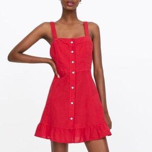 NWT Zara RUFFLED MINI DRESS